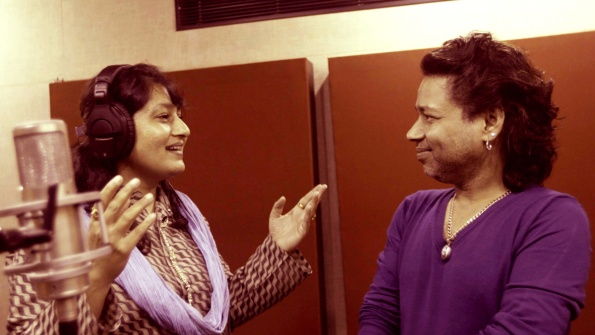 Filmmaker-composer Fauzia Arshi with singer Kailash Kher.