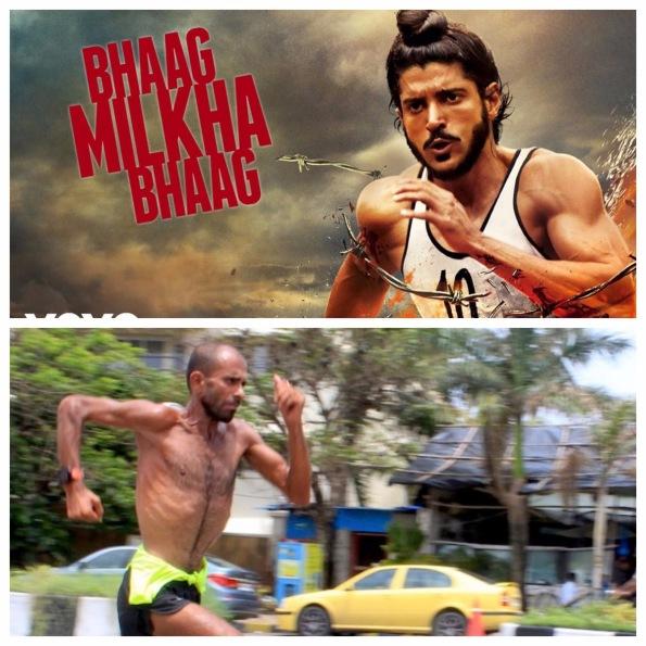 [Above] Farhan Akhtar in Bhaag Milkha Bhaag (Image Courtesy - Google), [Below] Samir Singh running in Mumbai.