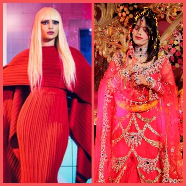 Priyanka Chopra and Radhe Maa. Collage 2. (Priyanka's image courtesy - Google)