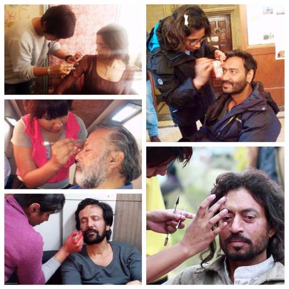 Preetisheel Singh working on Deepika Padukone, Pankaj Kapur, Kay Kay Menon, Ajay Devgn and Irrfan Khan.