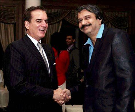 Ambassador of Brazil, His Excellency Tovar da Silva Nunes complimenting Chaitanya Padukone (right) for the book R.D.BurMania - PanchaMemoirs.
