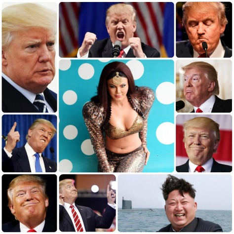 Rakhi Sawant, Donald Trump, Kim Jong Un. Collage 1. (Images courtesy - Google)