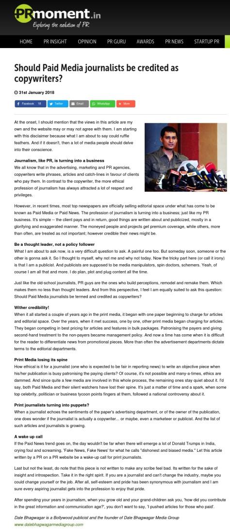 Dale - PR Moment article