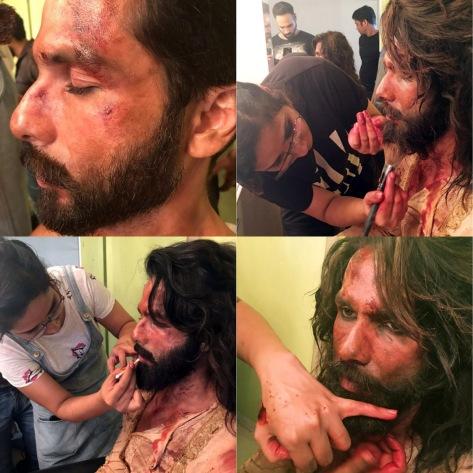 Preetisheel Singh working on Shahid Kapoor's look on the sets of Padmaavat. Collage 1.