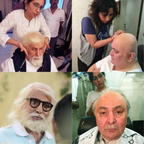 Preetisheel Singh working on Amitabh Bachchan and Rishi Kapoor's look on the sets of 102 Not Out.