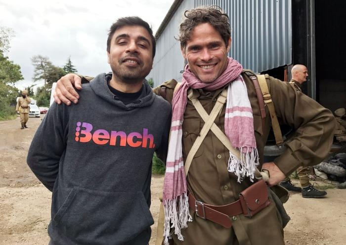 Alex Reece with director Pankaj Batra on the sets of Sajjan Singh Rangoot.
