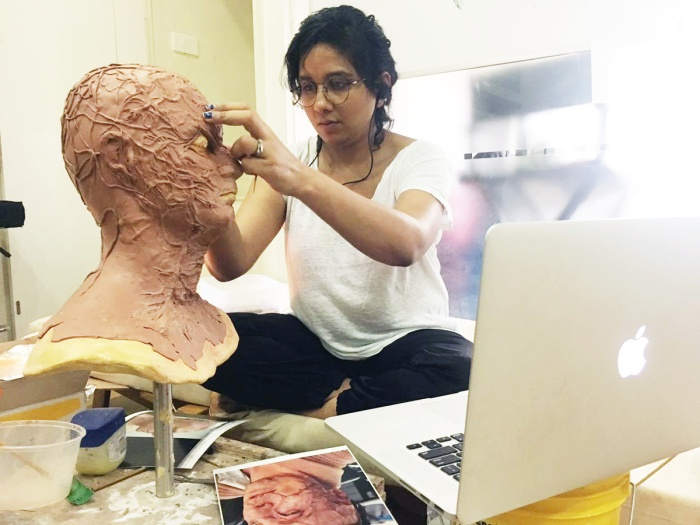 Preetisheel Singh at work in her studio Da Makeup Lab. - Pic 1.