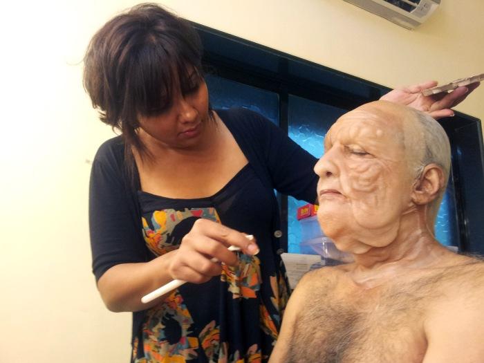 Preetisheel Singh at work with prosthetics.