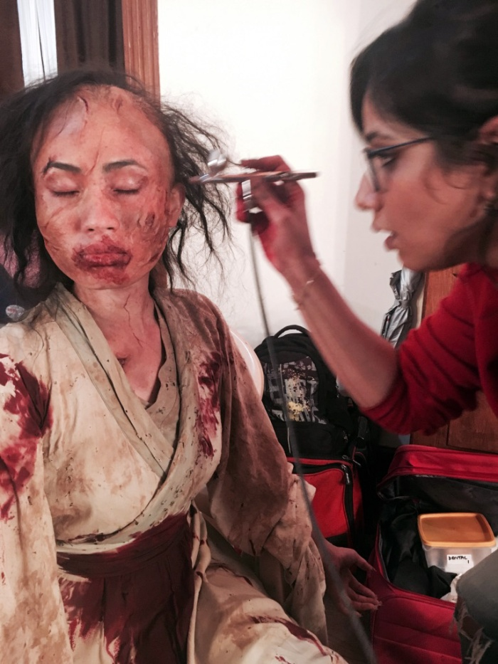 Preetisheel Singh working on makeup of a ghost on the sets of The House Next Door.