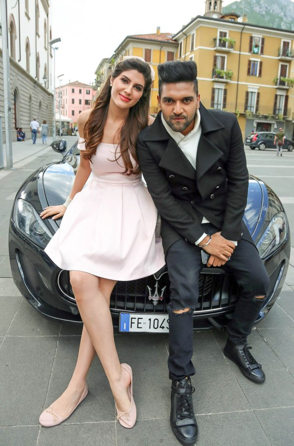 Elnaaz Norouzi and Guru Randhawa on the sets of Made In India. Pic 1.
